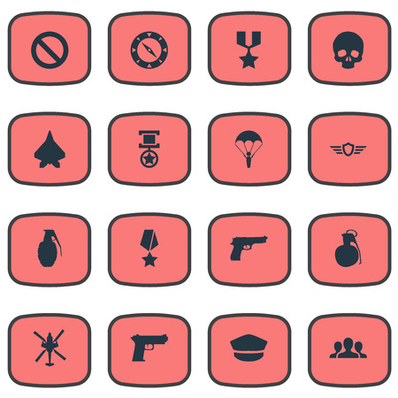 Vector Illustration Set Of Simple War Icons. Elements Bomb, Grade, Trophy And Other Synonyms Grenade, Bombshell And Trophy.