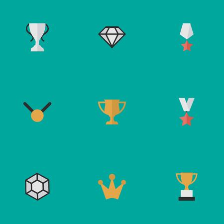 벡터 일러스트 레이 션 간단한 챔피언 아이콘의 집합입니다. 요소 잔, 다이아몬드, 프리미엄 및 기타 동의어 Prize, Goblet And Coronet.