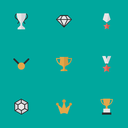 Vector Illustration Set Of Simple Champion Icons. Elements Goblet, Diamond, Premium And Other Synonyms Prize, Goblet And Coronet. Illustration