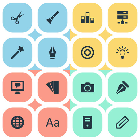 Vector Illustration Set Of Simple Icon Icons. Elements Bright, Circle, Tag And Other Synonyms Bulb, Photography And Conversation.