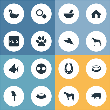 Vector Illustration Set Of Simple Wild Icons. Elements Doghouse, Circle, Luck Talisman And Other Synonyms Livestock, Circle And Parrot.