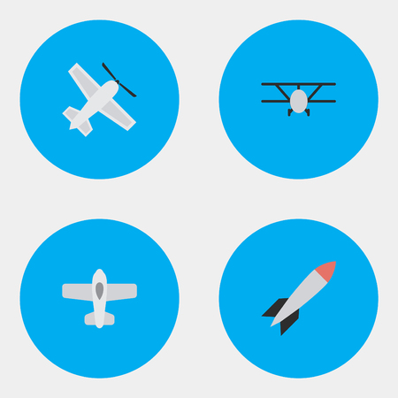 Vector Illustration Set Of Simple Plane Icons. Elements Craft, Airplane, Bomb And Other Synonyms Bomb, Dynamite And Craft.