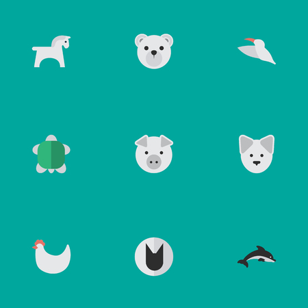 Vector Illustration Set Of Simple Zoo Icons. Elements Cock, Wolf, Fish And Other Synonyms Rooster, Bird And Tomcat.