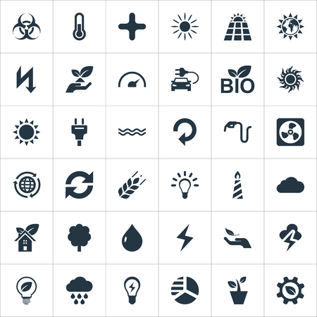 Vector Illustration Set Of Simple Green Icons. Elements Solar Energy, Globe, Fahrenheit And Other Synonyms Cloudburst, Overcast And Add.