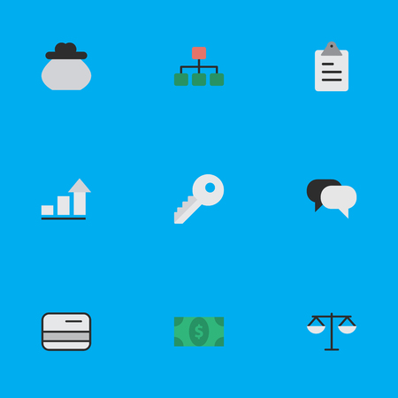 Vector Illustration Set Of Simple Job Icons. Elements Growing, Justice, Clipboard And Other Synonyms Scales, Growing And Balance.