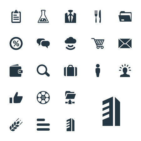 Elements Food Industry, Skyscraper, Archive And Other Synonyms Document, Task And Wireless.  Vector Illustration Set Of Simple B2B Icons. Illustration