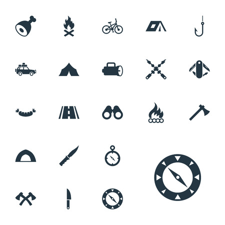 Vector Illustration Set Of Simple Camp Icons. Elements Lumberjack, Barbecue, Navigation And Other Synonyms Bayonet, Field And Weapon.