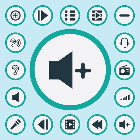 Vector Illustration Set Of Simple Sound Icons. Elements Plus, Podcast, Speech And Other Synonyms Bass, Music And Microphone.