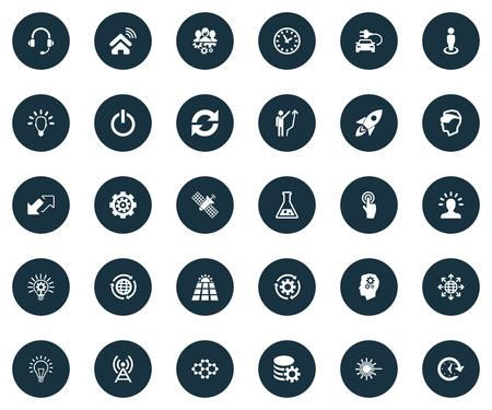 シンプルな発明アイコンのベクトルイラストセット。要素クリック、ハイブリッド自動、時間と他の同義語成長、更新と男。  イラスト・ベクター素材