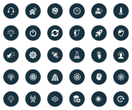 Vector Illustration Set Of Simple Invention Icons. Elements Click, Hybrid Auto, Time And Other Synonyms Growth, Update And Man. Çizim