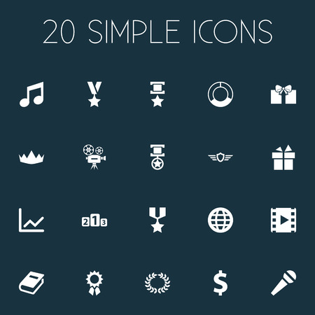 Vector Illustration Set Of Simple Achievement Icons. Elements Crown, Platform For Winner, Graph And Other Synonyms Music, Medallion And Camera.