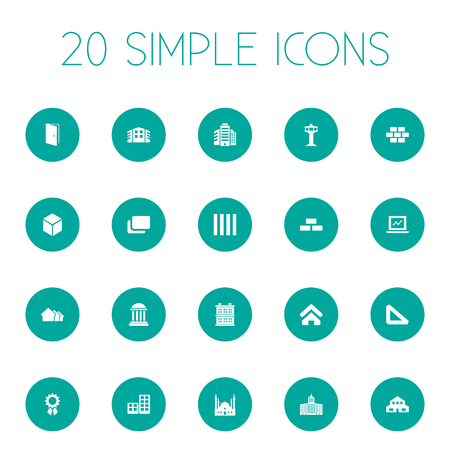 Vector Illustration Set Of Simple Architecture Icons. Elements Library, Superstructure, Stone And Other Synonyms Door, Stone And Museum.