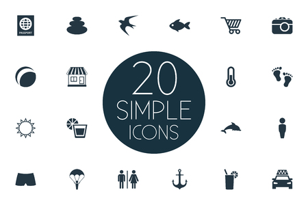 Vector Illustration Set Of Simple Seaside Icons. Elements Barefoot, Taxi, Beach Games And Other Synonyms Barefoot, Gentleman And Stone.