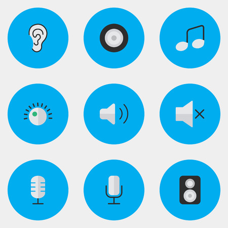 Vector Illustration Set Of Simple Music Icons. Elements Loudspeaker, Speaker, Loudness And Other Synonyms Loudspeakers, Music And Listen.