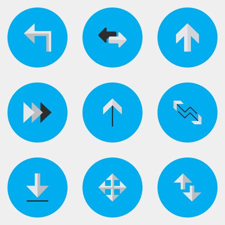 シンプルなポインタアイコンのベクトルイラストセット。要素の読み込み、矢印、カーソル、その他の類義語フォワード、エクスポート、インポー