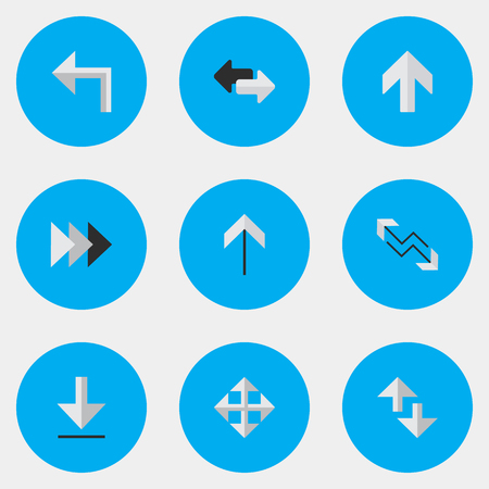 Vector Illustration Set Of Simple Pointer Icons. Elements Loading, Arrow, Cursor And Other Synonyms Forward, Export And Import.