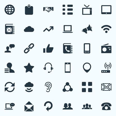 Vector Illustration Set Of Simple Social Icons. Elements Smartphone, World, Cv And Other Synonyms Position, Telephone And Cellphone. Ilustrace