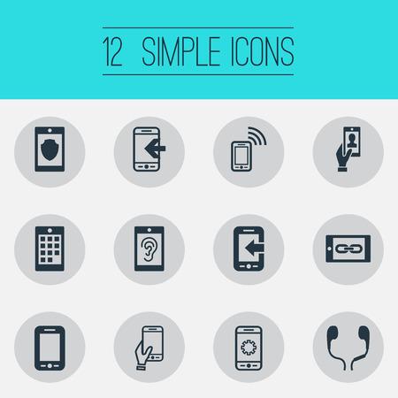 シンプルな電話アイコンのベクトルイラストセット。要素番号、聴覚、Inbounding、その他の同義語着信、ガジェット、耳のマフ。