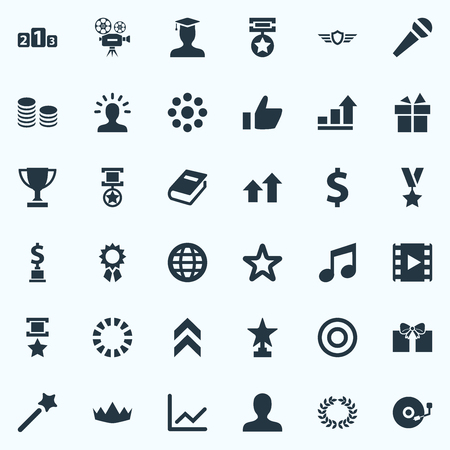 Vector Illustration Set Of Simple Trophy Icons. Elements Present, Guard, Profile And Other Synonyms Postgraduate, Profile And Champion. Illustration