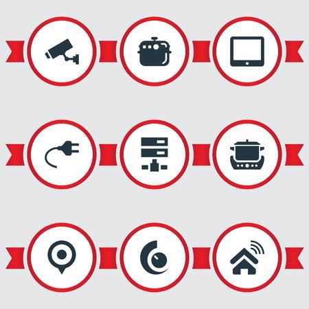 Illustration vectorielle définie des icônes simples simples. Elements Four, Datacenter, Cuisinière électrique et autres synonymes Home, Smart And Location. Banque d'images - 85693740