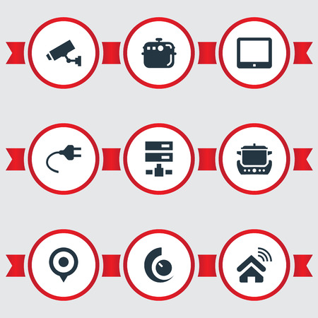 Vector Illustration Set Of Simple Smart Icons. Elements Oven, Datacenter, Electric Stove And Other Synonyms Home, Smart And Location. Illustration