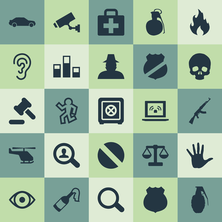 Elements Grid, Emblem, Dead Man And Other Synonyms Captain, Shadowing And Volunteer.  Vector Illustration Set Of Simple Crime Icons.
