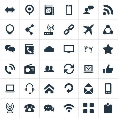 Vector Illustration Set Of Simple Social Icons. Elements Partnership, User, Notebook And Other Synonyms Plane, Star And Cellphone.