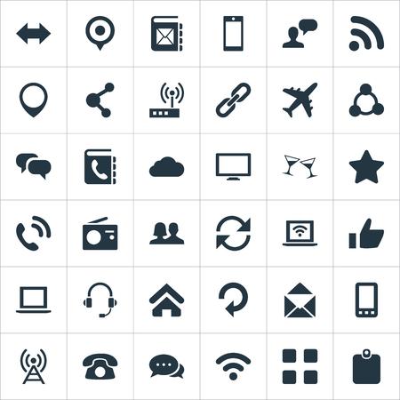 Vector illustratie Set van eenvoudige sociale pictogrammen. Elements Partnership, User, Notebook and Other Synoniemen Plane, Star and Cellphone. Stock Illustratie