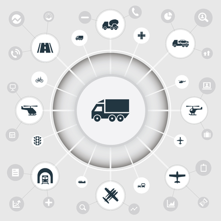 Vector Illustration Set Of Simple Transport Icons. Elements Helicopter, Motor Lorry, Takeoff And Other Synonyms Jet.