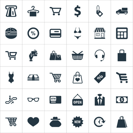 Vector Illustration Set Of Simple Purchase Icons. Elements Electronics, Swimsuit, Atm And Other Synonyms Love. Çizim