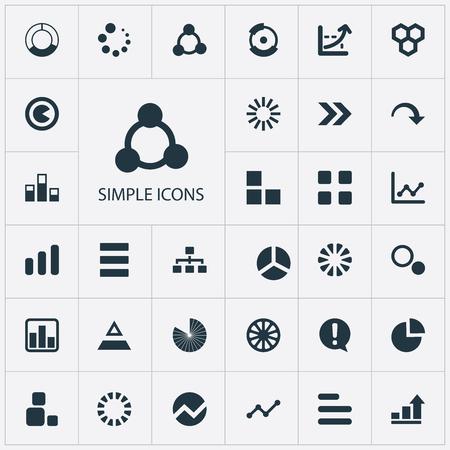 シンプルな図のアイコンのベクトルイラストセット。要素は、サージ、講義、進捗状況やその他の同義語テンプレート、プロセスと複数。