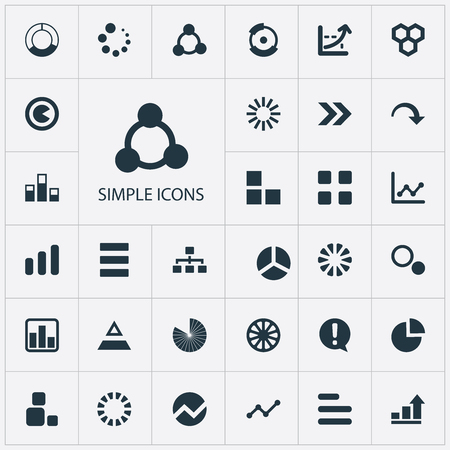 Vector Illustration Set Of Simple Diagram Icons. Elements Surge, Lecture, Progress And Other Synonyms Template, Process And Multiple.