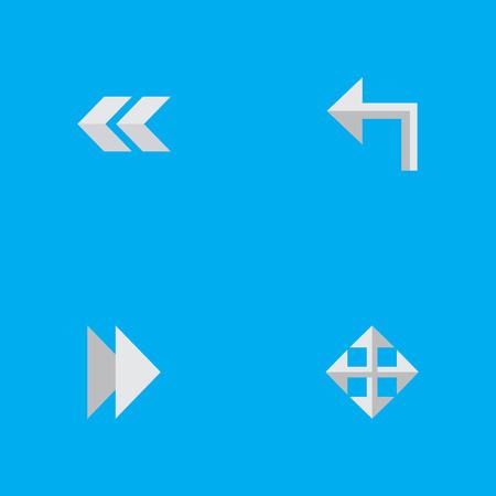 要素前方、拡大、向き、その他の同義語次に、後方と矢印。 シンプルなインジケーターのアイコンのベクトルイラストセット。