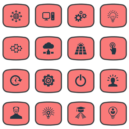 Elements Turn Off, Power, Bulb And Other Synonyms Button, PC And Knowledge.  Vector Illustration Set Of Simple Invention Icons.