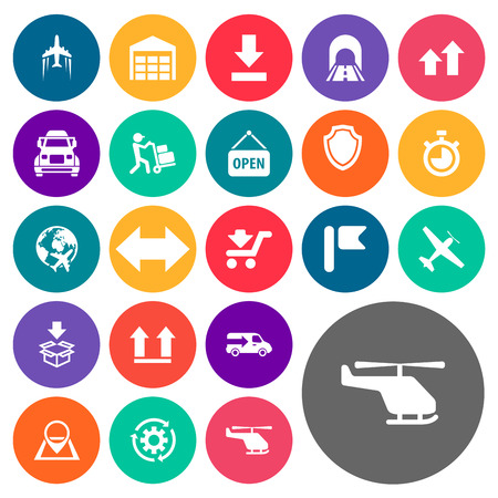 Elements Lorry, Countdown, Location And Other Synonyms Opened, Box And Warehouse.  Vector Illustration Set Of Simple Systematization Icons.