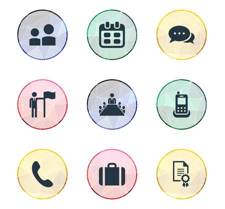 Elements Leader, Award, Calling and Other Synoniemen Call, Briefcase and Communication. Vector illustratie Set van eenvoudige pictogrammen. Stock Illustratie