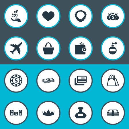Elementen Luidspreker, Geld, Soul en andere synoniemen Soul, Money And Heart. Vector illustratie Set van eenvoudige mode-iconen.
