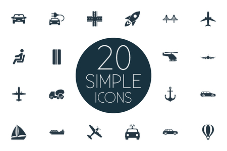 Elements Carriage, Motor, Race And Other Synonyms Cargo, Auto And Convertible.  Vector Illustration Set Of Simple Transport Icons. Çizim