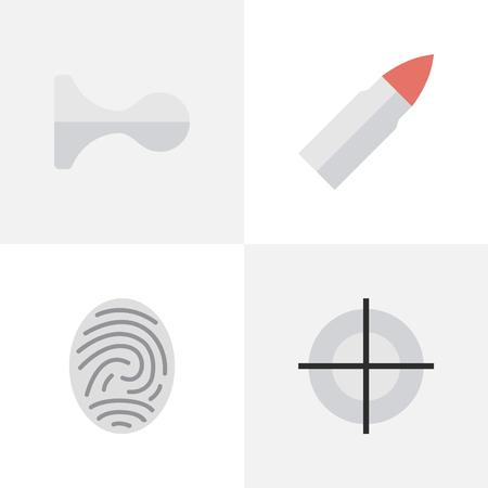 Elements Bioskyner, Sniper, Shot And Other Synoniemen Horns, Shot And Deer. Vector illustratie Set van eenvoudige overtreding iconen.