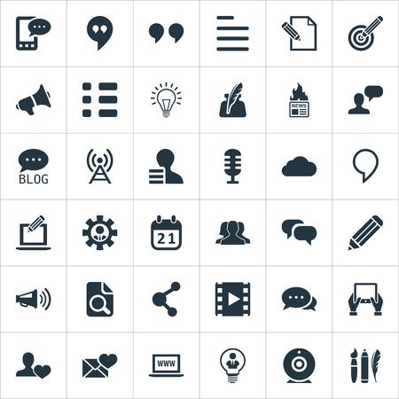 벡터 일러스트 레이 션 간단한 신문 아이콘의 집합입니다. 요소 Wi-Fi, 캘린더, 메모장 및 기타 동의어 블로그. 스톡 콘텐츠 - 85820819