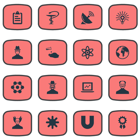 Elements Checklist, Geography, Structure And Other Synonyms Seeding, Technology And Sleuth.  Vector Illustration Set Of Simple Science Icons. Stock fotó - 85820822
