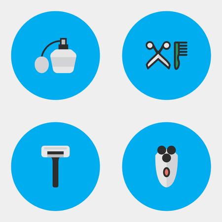 요소 향수, 빗, 면도기 및 기타 동의어 면도기, 향수 및 빗. 벡터 일러스트 레이 션 간단한 미용사 아이콘의 집합입니다.