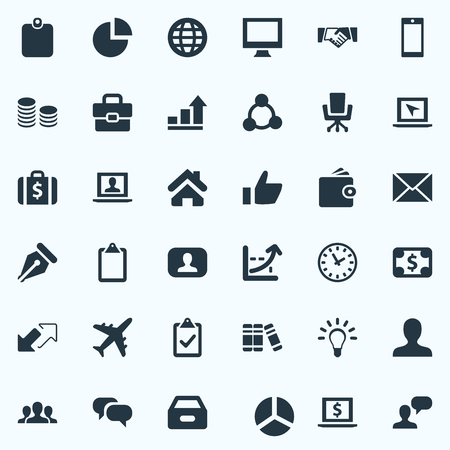 incorporate: Elements Monitor, Display, Progress And Other Synonyms Thumb, Up And Wallet.  Vector Illustration Set Of Simple Trade Icons.