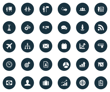 Vector Illustration Set Of Simple Business Icons. Elements Resume, Presentation, Efficient And Other Synonyms Planet. Illustration
