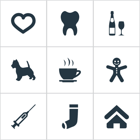 Vector Illustration Set Of Simple Colony Icons. Elements Hosiery, Love, Puppy And Other Synonyms House, Love And Vaccine.