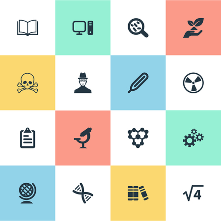 Vector Illustration Set Of Simple Science Icons. Elements Toxic Substance, Globe, Library And Other Synonyms Engendering, Setting And Environment.