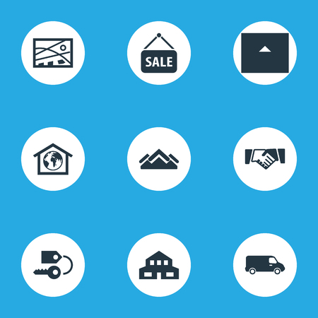 Vector Illustration Set Of Simple Property Icons. Elements Advertising, Key, Partnership And Other Synonyms Navigation, Sign And Location.