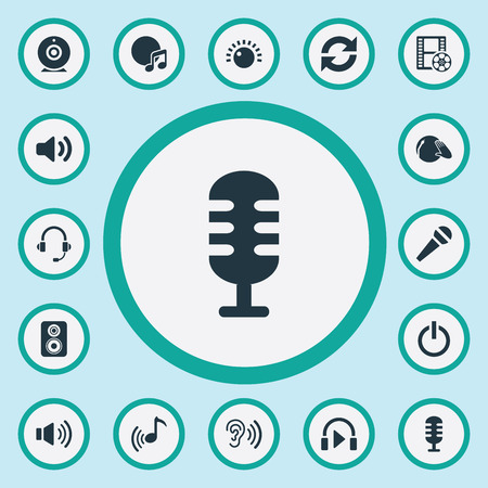 Elements Cinema, Karaoke, Disco And Other Synonyms Ear, Karaoke And Microphone.  Vector Illustration Set Of Simple Dj Icons. Banco de Imagens - 85820840