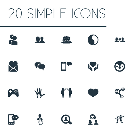 Elements Camaraderie, Balance, Message And Other Synonyms Human, Gossip And Community.  Vector Illustration Set Of Simple Mates Icons.