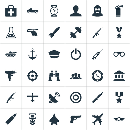 Vector Illustration Set Of Simple War Icons. Elements Chemistry, Avatar, Barbell And Other Synonyms.